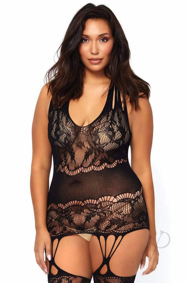 Floral Lace Opaque Suspender Bodystocking