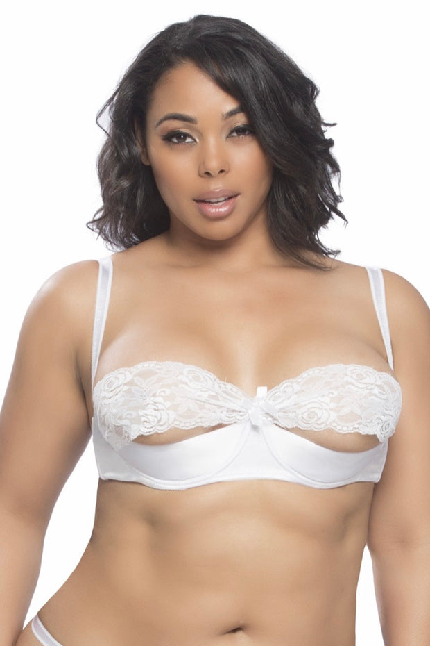 Shelf bra Raquel white - plus size bra set - CurvynBeautiful