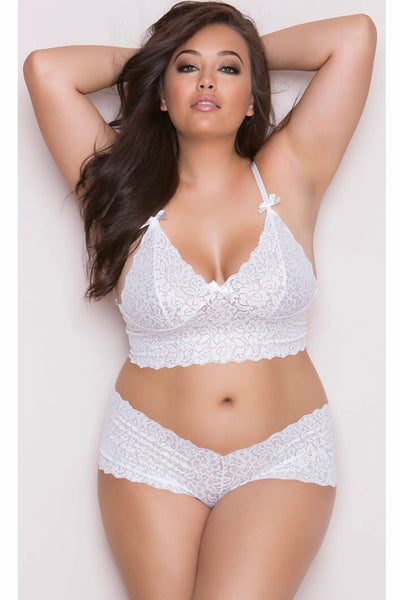 Stretch  booty short and Bralette white - plus size bra set - CurvynBeautiful