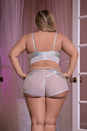 Bra, Boy Short & Removable Stirrup Set Grey - plus size bra set - CurvynBeautiful