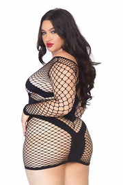 Diamond Net Long Sleeved Mini Dress