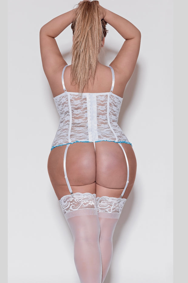Corset & G-string white - plus size corset - CurvynBeautiful