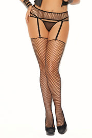 Fence net garter belt with matching stockings. - plus size bodystocking - CurvynBeautiful