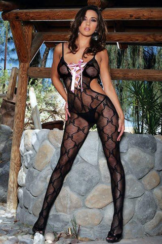 Bow tie lace Bodystocking, size O/S Queen 1X3X - plus size bodystocking - CurvynBeautiful