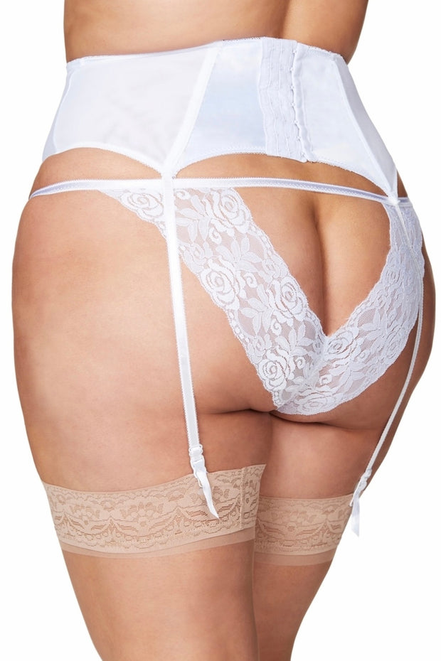 Satin garter belt Raquel white
