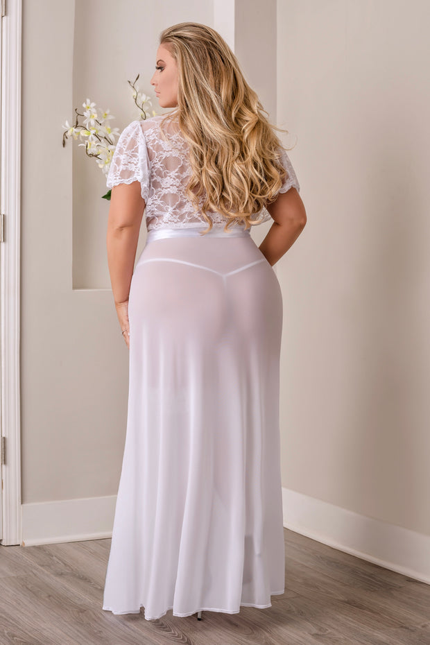 Robe and G-string white - Gown - CurvynBeautiful