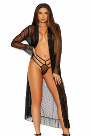 Long sleeve dotted mesh robe