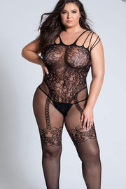 Fishnet and lace Bodystocking.