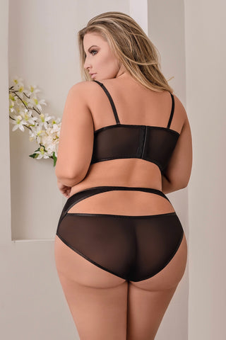 Cropped Bustier & High Waist Panty Set - plus size bra set - CurvynBeautiful