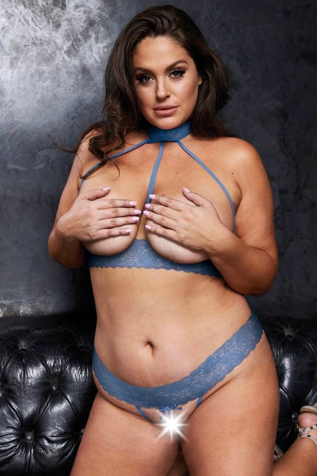 Open cup bra set - plus size bra set - CurvynBeautiful