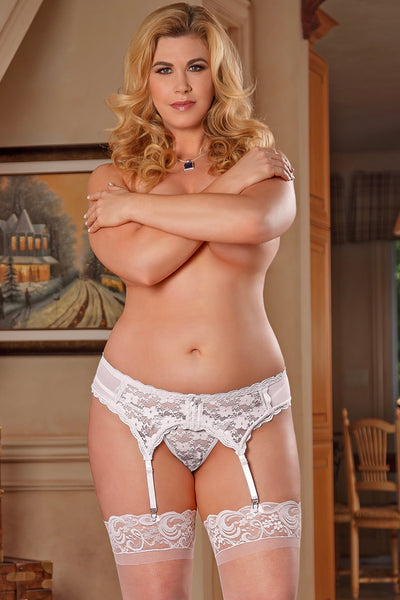 Lace garter belt white - plus size garter belt - CurvynBeautiful