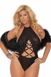 Lace and opaque halter neck teddy - plus size teddy - CurvynBeautiful