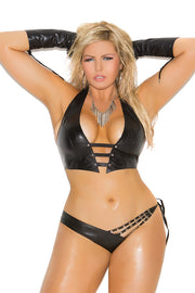 Leather halter cami and panty - plus size leather - CurvynBeautiful