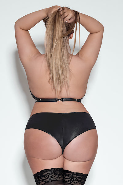 Faux leather halter bra and short - plus size leather - CurvynBeautiful