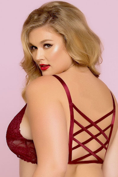 Lace bralette wine - plus size bra set - CurvynBeautiful