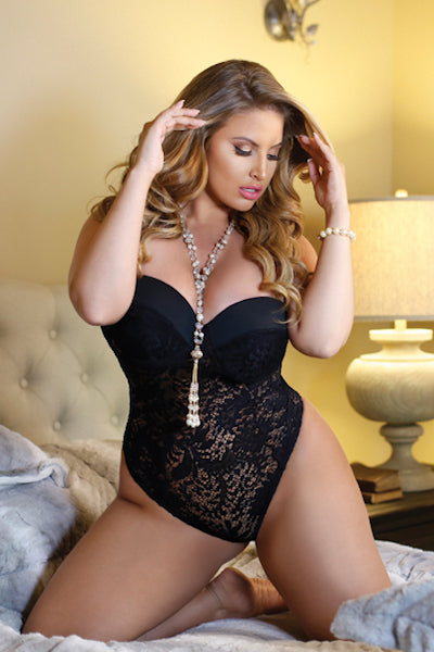 Monroe push up teddy - plus size teddy - CurvynBeautiful