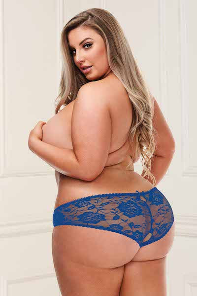 Lace open crotch thong navy - plus size panty - CurvynBeautiful