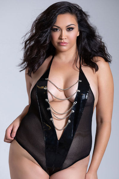 Vinyl and fishnet teddy - plus size corset - CurvynBeautiful