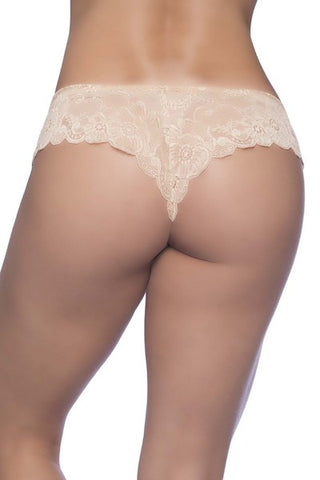 Lace high leg tanga nude
