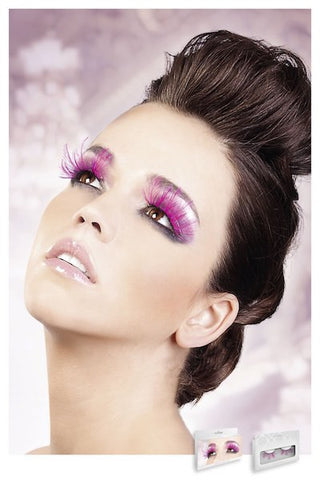 Hot Pink Feather Eyelashes - Eyelashes - CurvynBeautiful