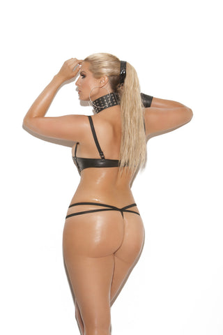 Leather teddy with lace up front - plus size leather - Curvynbeautiful Plus size lingerie - 2