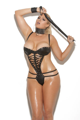 Leather teddy with lace up front - plus size leather - Curvynbeautiful Plus size lingerie - 1