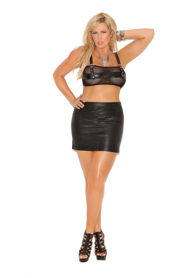 Leather mini skirt - plus size leather - CurvynBeautiful