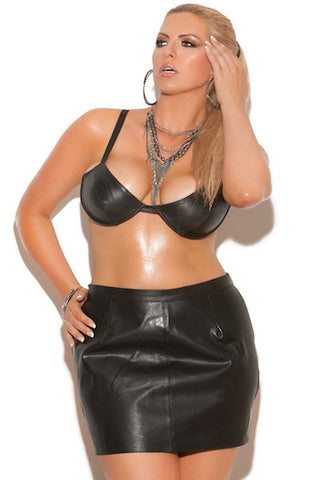 Leather spanking skirt - plus size cami - Curvynbeautiful Plus size lingerie - 1