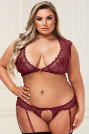 2Pc sexy lace bra and g-string wine - plus size bra set - CurvynBeautiful