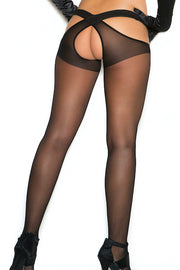 Sheer criss cross suspender pantyhose. - plus size leggin - CurvynBeautiful
