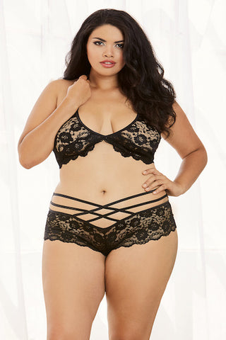 Stretch lace bra top and short - plus size bra set - CurvynBeautiful