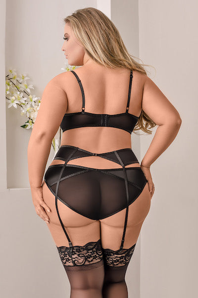 Bra, Garter & Panty Set - plus size bra set - CurvynBeautiful