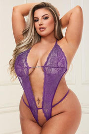Deep V lace teddy purple - plus size teddy - CurvynBeautiful