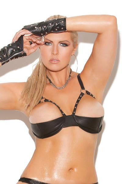 Leather demi bra with underwire cups - plus size leather - CurvynBeautiful