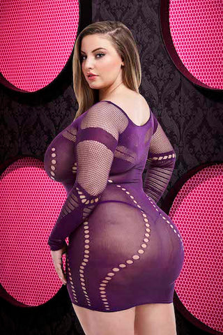 Long sleeve mini dress purple