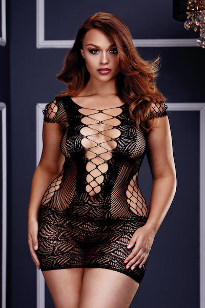 Fishnet mini  Dress - plus size cami - CurvynBeautiful