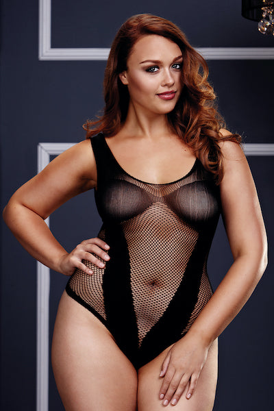 Fishnet teddy - plus size teddy - CurvynBeautiful