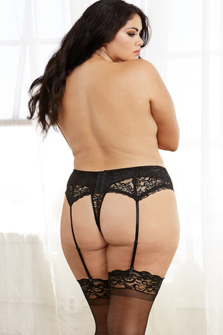 Stretch lace garter belt black - plus size garter belt - Curvynbeautiful Plus size lingerie - 2