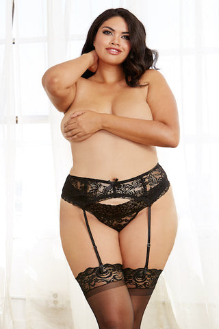 Stretch lace garter belt black - plus size garter belt - Curvynbeautiful Plus size lingerie - 1