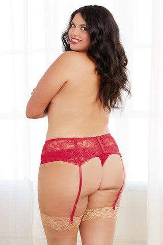 Stretch lace garter belt red - plus size garter belt - Curvynbeautiful Plus size lingerie - 2