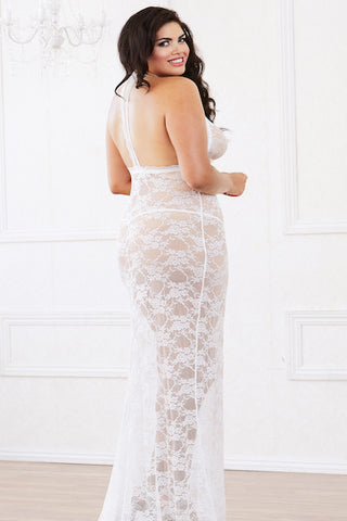Stretch lace gown pearl - Gown - CurvynBeautiful