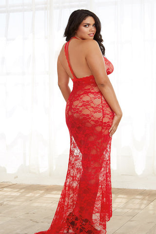 Stretch lace gown red - Gown - CurvynBeautiful