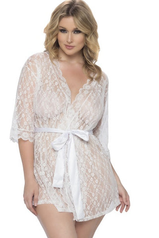 Lace robe white - Gown - Curvynbeautiful Plus size lingerie - 1