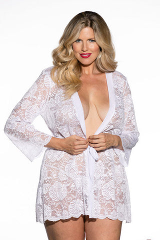Stretch Lace robe white
