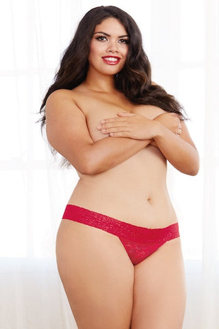 Stretch lace thong red - plus size panty - CurvynBeautiful