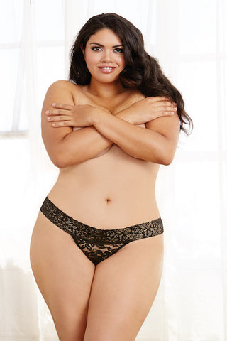 Stretch lace thong  black - plus size panty - CurvynBeautiful