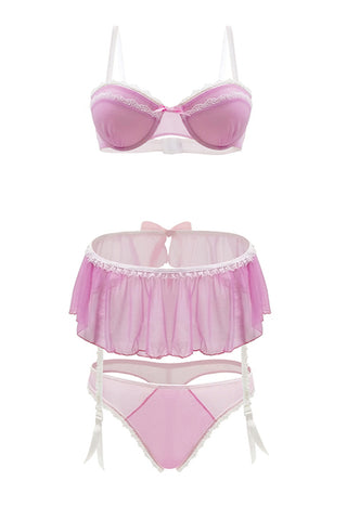 Lady bra pink, skirt and panty set