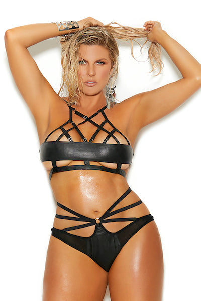 Leather bra top and matching panty - plus size bra set - CurvynBeautiful