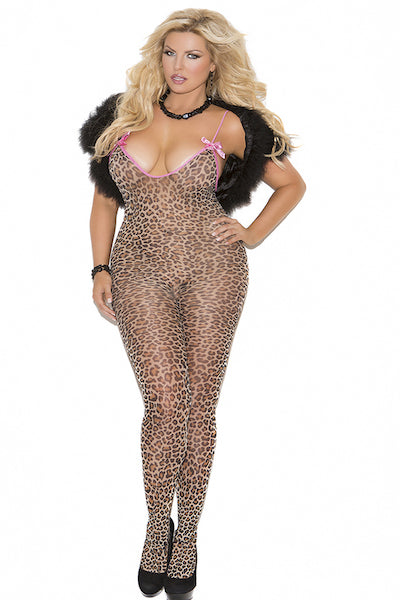 Bodystocking with satin bows - plus size bodystocking - CurvynBeautiful
