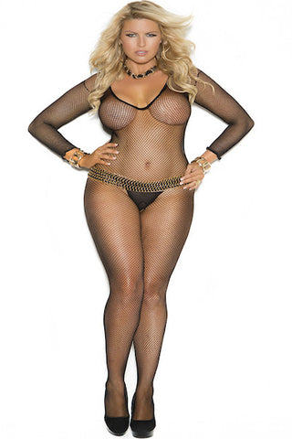 Deep V cut fishnet bodystocking - plus size bodystocking - CurvynBeautiful